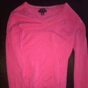 Pink Tommy Hilfiger v Neck Sweater